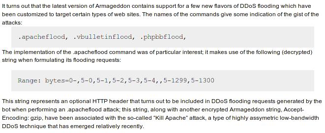 ApacheKiller flaw integrated into Armageddon's DDoS Botnet